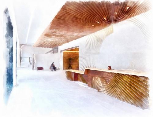 DISEÑO INTERIOR. interiorismo y arquitectura. Hall recepción Acuarela